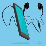 Smartphone aan oortelefoon wordt verbonden die Royalty-vrije Stock Afbeelding