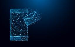 Smartphone abstrait avec les lignes de forme d'email et les triangles, réseau se reliant de point sur le fond bleu vecteur d'illu Photographie stock libre de droits