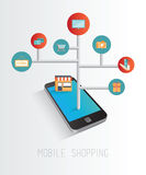 Smartphone accessing online retail concept Stock Image