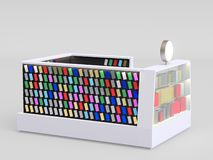 Smartphone accessories kiosk selling phone cases and other smartphone items inside of a mall. 3d render. your logo. Smartphone accessories kiosk selling phone stock illustration