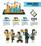 Smartphone Addict info graphic. people Holding Cell Smartphone. Social Network Communication Concept. website banner, poster, maga Royalty Free Stock Photography