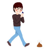 Smartphone Addiction Accident. Careless teenager boy about to step on dog shit poop while using smartphone addiction concept royalty free illustration