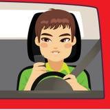 Smartphone Addiction Car. Man driving using smartphone problem addiction danger concept Stock Photos