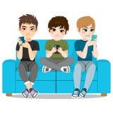 Smartphone Addiction. Concept bad lifestyle teenager boy group stock illustration