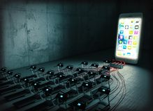 Smartphone addiction concept royalty free stock photos