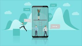 Smartphone Addiction Concept. The People Trapped Inside the Smartphone Represents the Addiction. They Cant Escape. Flat royalty free illustration