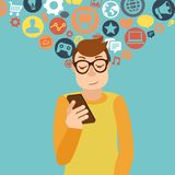 Smartphone addiction concept Royalty Free Stock Image