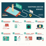 Smartphone addiction and function infographic with banner Royalty Free Stock Image