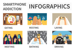 Smartphone addiction infographic Royalty Free Stock Images