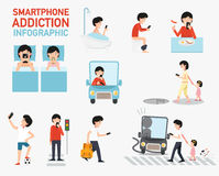 Smartphone addiction infographic.vector. Illustration Royalty Free Stock Image