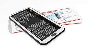 Smartphone with airport schedule and tickets Stock Images