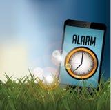 Smartphone alarm w polu przy wschodem słońca z kopii przestrzenią ilustracja wektor