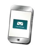 Smartphone Alert. Illustration of a silver smart phone displaying a new message alert Stock Photos