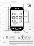 Smartphone als technische tekening Stock Afbeelding