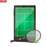 Smartphone with american tennis ball and field on Royalty Free Stock Photos