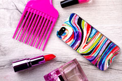 Smartphone And Make-up. Stock Photography