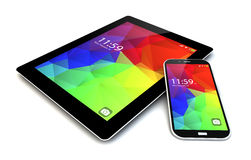 Smartphone ant tablet with touchscreen interface Royalty Free Stock Images