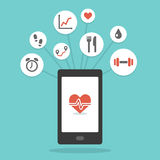 Smartphone app υγείας Στοκ φωτογραφία με δικαίωμα ελεύθερης χρήσης