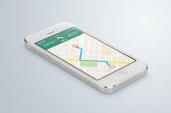 Το άσπρο κινητό smartphone με τη ναυσιπλοΐα app ΠΣΤ χαρτών βρίσκεται Στοκ Εικόνες