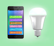 Smartphone app control LED lighting in green Stock Images