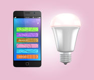 Smartphone app control LED lighting in pink Royalty Free Stock Images