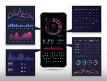 Smartphone APP infographic avec le téléphone 3d, les diagrammes de commercialisation et les diagrammes Vecteur eps10 illustration libre de droits