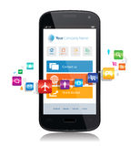 Smartphone App Internet. This image is a vector file representing a smartphone with a responsive design website surrounded by apps