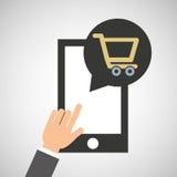 Smartphone app koopt markt online sociaal media pictogram stock illustratie
