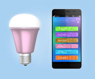Smartphone app for LED lighting control Stock Photography