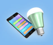 Smartphone app for LED lighting control Royalty Free Stock Photography