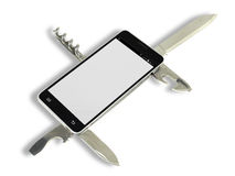 Smartphone App. A penknife as app in a smartphone Stock Images