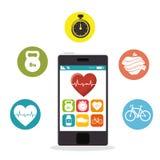 Smartphone-app van het harttarief geschiktheidsgezondheid royalty-vrije illustratie