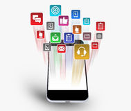 Smartphone apparat som nedladdar Appsen Arkivfoto