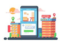 Smartphone application booking. Smartphone application for hotel or apartment booking. Vector flat illustration Royalty Free Stock Photography