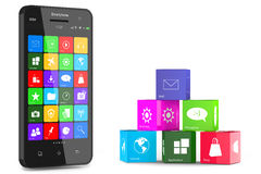 Smartphone and application cubes Stock Photos