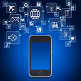 Smartphone and application icons Stock Photo