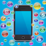 Smartphone and application icons Stock Photos
