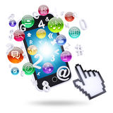 Smartphone and application icons Royalty Free Stock Photos