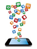 Smartphone with application icons 2 Stock Image