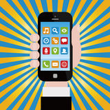 Smartphone with application icons Stock Images