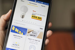 Smartphone Application Ikea Catalogue Royalty Free Stock Photo