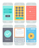 Smartphone application interface elements. Flat design style vector illustration concept set of modern smartphone with various abstract user interface elements Stock Photography