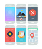 Smartphone application interface elements. Flat design style vector illustration concept set of modern smartphone with various abstract user interface elements Stock Photos