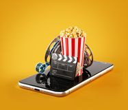Smartphone application for online buying and booking cinema tickets. Live watching movies and video. Unusual 3D illustration of popcorn, cinema reel, clapper Royalty Free Stock Images