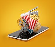 Smartphone application for online buying and booking cinema tickets. Live watching movies and video. Unusual 3D illustration of popcorn, cinema reel, clapper vector illustration