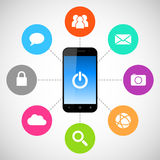 Smartphone applications. Smartphone with applications colorfull icons Stock Image