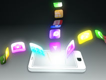 Smartphone with applications floating everywhere Stock Photography