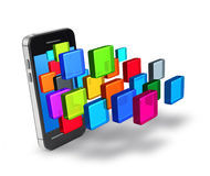 Smartphone applications icons. Smartphone application icons burst digital touchscreen display vector illustration