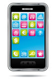 Smartphone with apps. Smartphone with colorful applications icons Stock Images