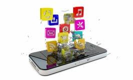 Smartphone apps lizenzfreie abbildung
